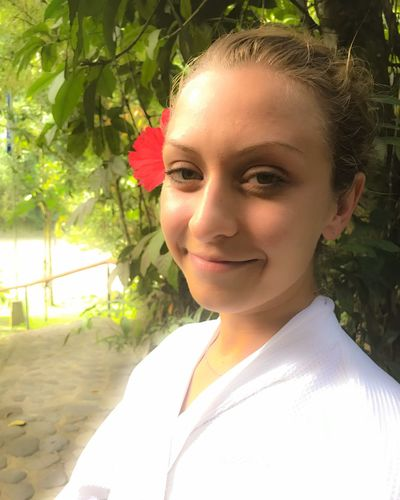 Real People Looking At Camera Smiling Young Adult Portrait One Person Young Women Day Lifestyles Sunlight Tree Leisure Activity Outdoors Happiness Nature Beautiful Woman Close-up People Simple Beauty Luxury Jungle Spa Costa Rica Spa Treatment Relaxing Moments