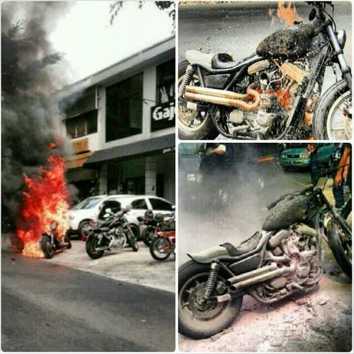 "My buddy's monster powertrain FXR dubbed ""Marni"" was engulfed in flames a few days ago...heartfelt thoughts through his loss but he's in good spirit,safe and keeping it positive, the ""Grey"" primer fxr Marni will rise again roll out faster and angrier like Jeangrey of the X-Men! Lol and on a serious note, we're all glad that he's ok. Thoughts out to you my ""Bor"" . Pics taken from @rizkymandra and @ucuplawless instagram. GTcrew Greaserstemple familia SSMC lawless_jkt"