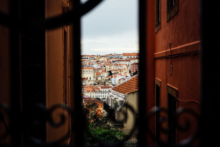 City seen through fence
