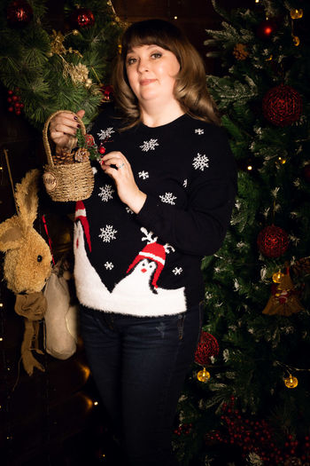 Portrait of a girl with christmas tree