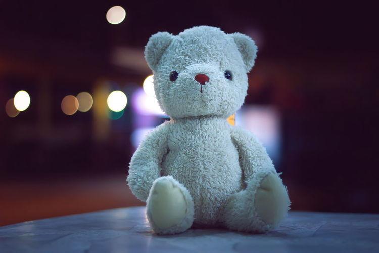 Bear Doll Nightphotography Animal Representation Bokeh Childhood Close-up Creativity Cute Focus On Foreground Softness Stuffed Toy Teddy Bear Toy