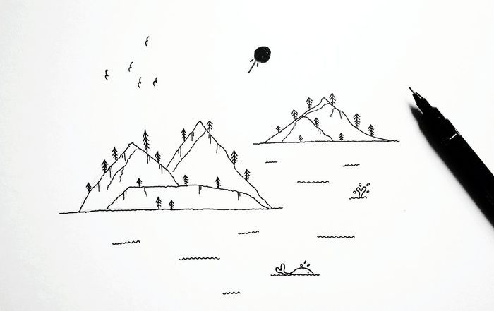 Bird Mountain Outdoors Sky Day Flock Of Birds ArtWork Artist Ink Inktober BlackInk