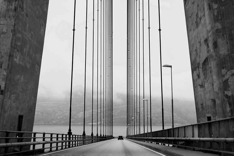 Milos Karadaglic | No.5 Andaluza Bridge - Man Made Structure Steel Cable Wires In The Sky Vanishing Point Roadtrip Cable-stayed Bridge Jeg Elsker Norge Nordischbynature Norwegian Lovestory Go North Norrrway Blablabla Hashtagoverload Life In Motion Blackandwhite Blackandwhite Photography