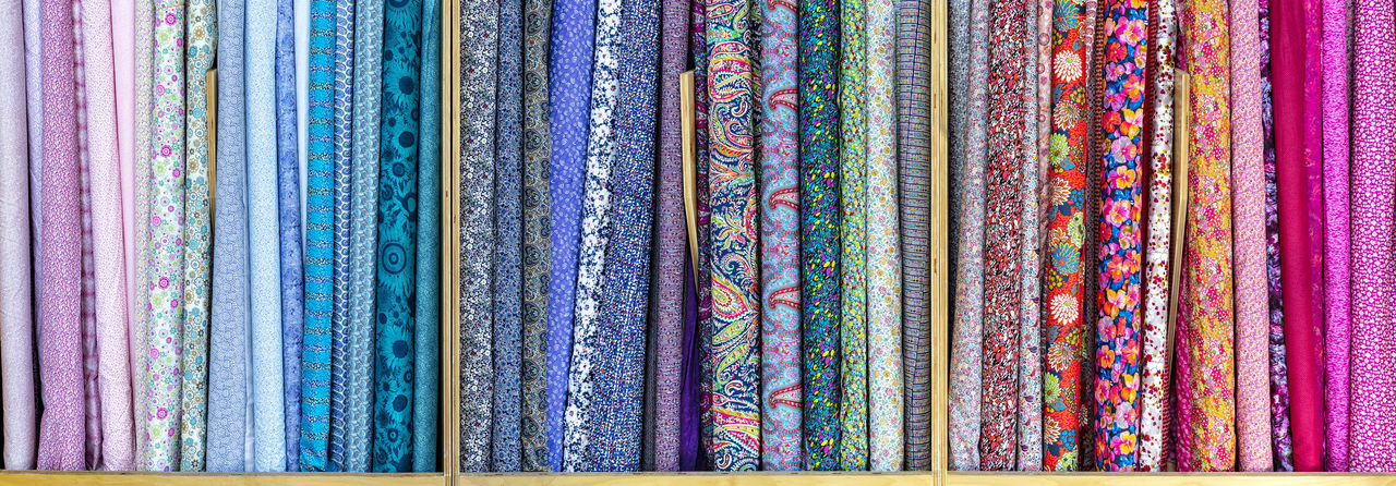 Multi Colored Pattern Textile Floral Pattern Retail Display Large Group Of Objects Variation Design