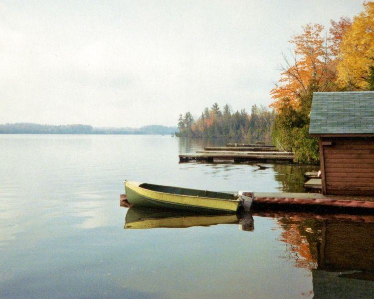 Balsam Lake Ontario, Canada Lake View Lakeshore Boat Autumn Calm Landscape 35mm Olympusxa Analogue Photography Film Scenic Cottage Cottage Life