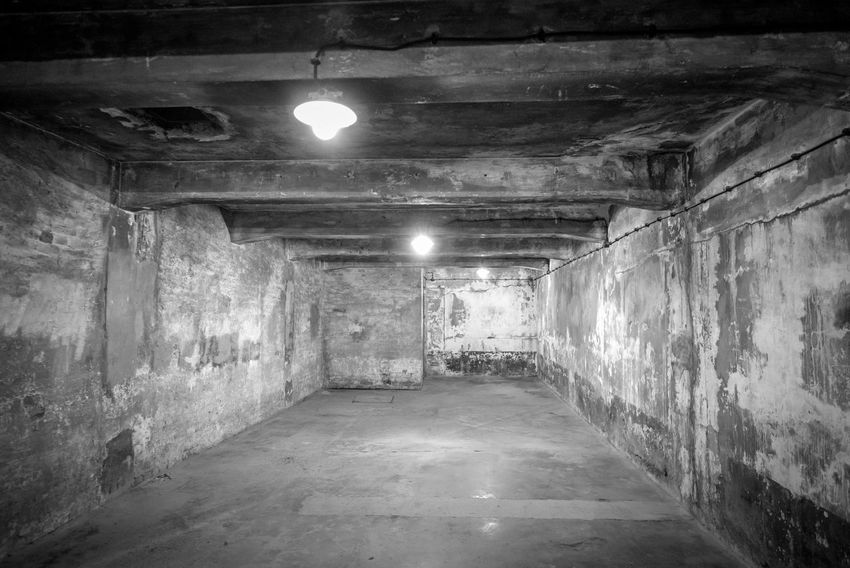 Auschwitz Auschwitz  Architecture Illuminated Lighting Equipment The Way Forward Direction Built Structure Tunnel No People Indoors  Ceiling Wall - Building Feature Light Electric Light Electricity  Empty Wall Building Diminishing Perspective Arcade Corridor