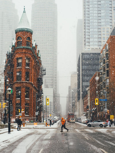 Gooderham building in toronto during snowfall