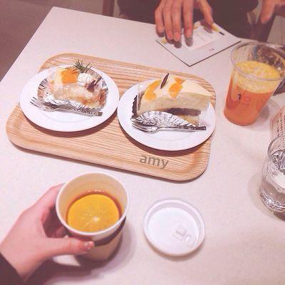 tangerine cafe?☕️ Food Fruitporn Fruits Cafe Enjoying A Meal Tea Time Dessert Cake Food Porn 松山
