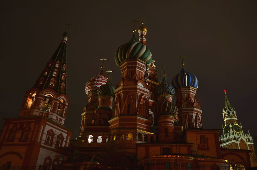 Night Travel Destinations Architecture City No People Cityscape Moscow, Russia Places Around The World Russia Today Moscow Architecture Cityscape City Illuminated Outdoors Moscow City Cathedral Cathedrals  Chirch Tower Spasskaya Tower Red Square Unusual View Unusual Perspective Towers And Sky
