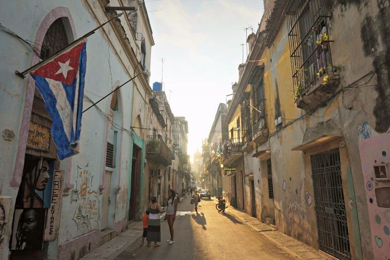 Cuba Havana Street Dust Old Architetecture Dailylife Grafitti Flag Sunset