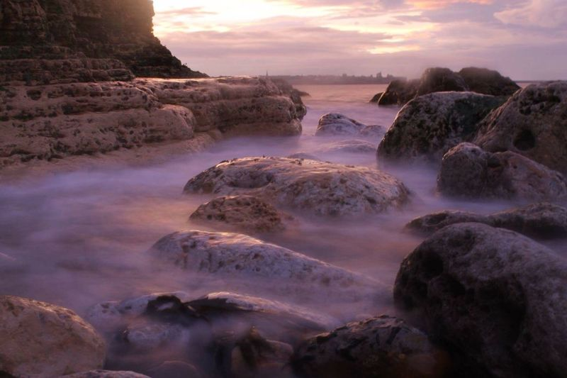 Sunset Sea Rock - Object Beauty In Nature Scenics Water Rock Formation Mist Exposure