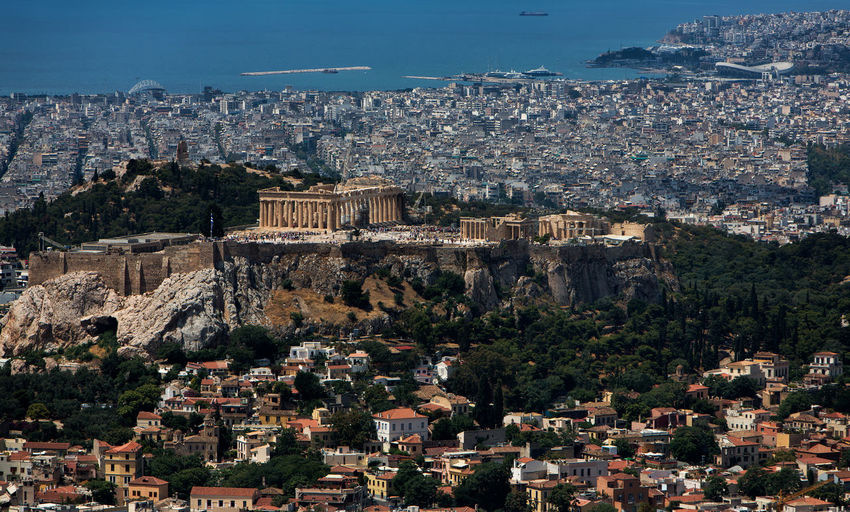 Cityscape of Athens. Acropolis Of Athens Akropolis Athens Greece Athens, Greece Greece Photos Ancient Civilization Architecture Athens Building Building Exterior Built Structure Capital Cities  City Cityscape Greece High Angle View History Nature No People Outdoors Residential District Sky The Past Town Travel Destinations Tree