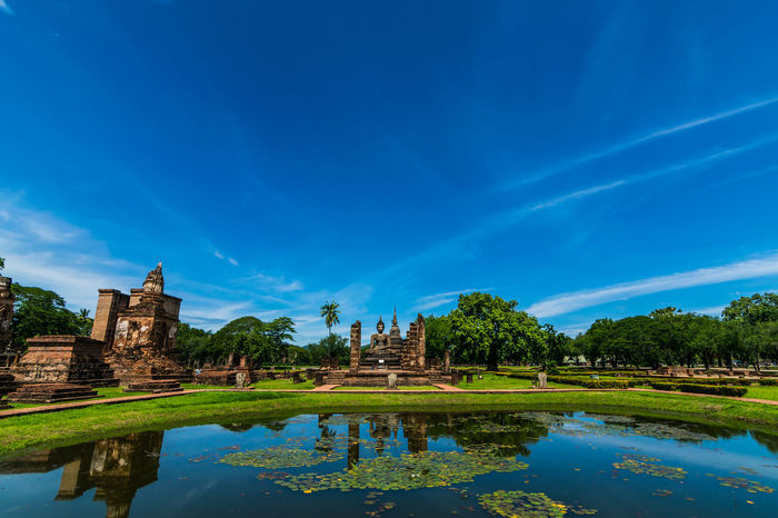 world heritage Heritage Old Cassic Buddha Travel Sukhothai Water Reflection Blue Sky Architecture Place Of Worship Temple Religion