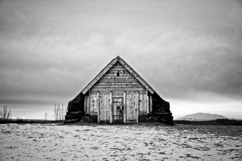 Replica Viking church Iceland. Black And White Collection  Black And White Viking Iceland Travel Travel Destinations Built Structure Architecture Sky No People Building Exterior Day Outdoors