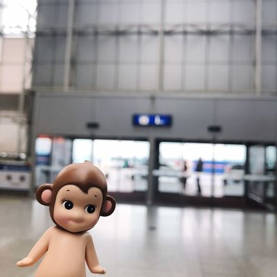 Focus On Foreground Representation Incidental People Toy Childhood Indoors  Airport
