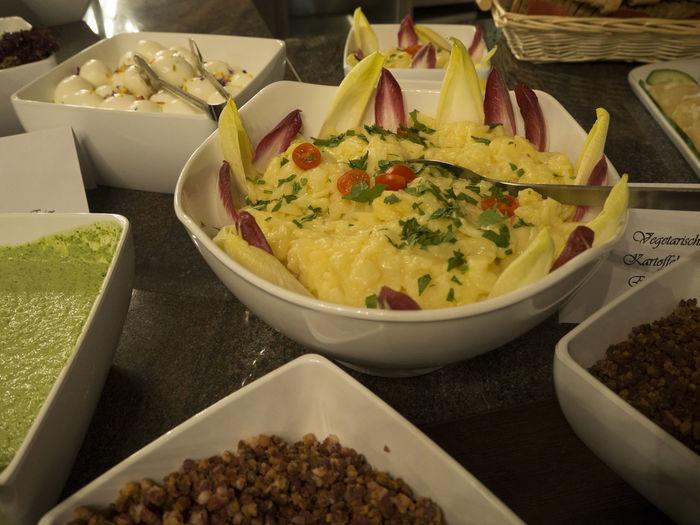 Bowl Buffet Choice Food Food And Drink Freshness High Angle View Kartoffelsalat Potatoesalad Ready-to-eat Variation
