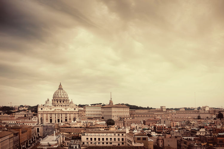 St Peters Basilica and the Vatican Rome Rome, Italy Vatican Architecture Building Building Exterior Built Structure City Cityscape Cloud - Sky Dome Italy Nature No People Outdoors Religion Residential District Sky St Peters Basilica Tourism Travel Travel Destinations My Best Travel Photo