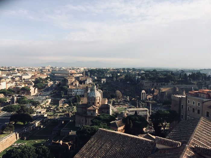 Rom Ancient Civilization Colosseo Roma Colosseum Architecture Built Structure Building Exterior High Angle View Sky Crowded Outdoors Day Roof Cityscape Community Tree Tiled Roof  City Nature EyeEmNewHere EyeEm Ready