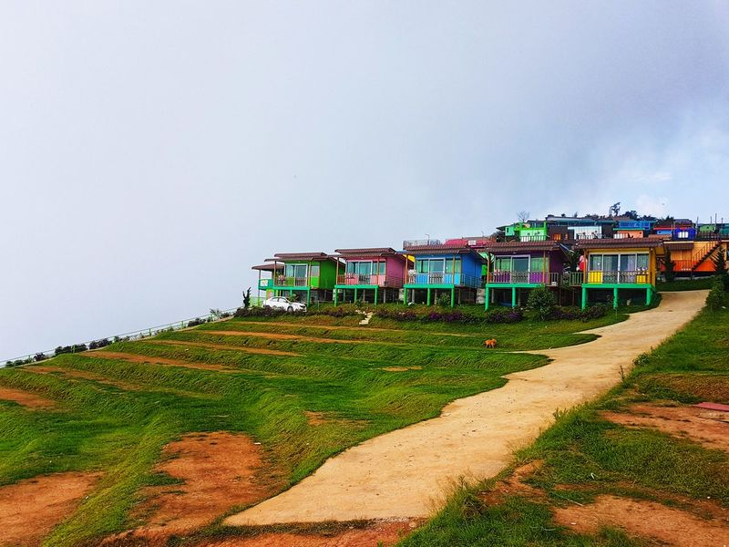Tents and accommodation Mountain, Phetchabun, Thailand Home Huts Travel Accommodation Mountain Tent Camping Thailand Thailandtravel Camping Agriculture Drying Sky Architecture Built Structure Hut Stilt House Mountain Range Mountain Peak