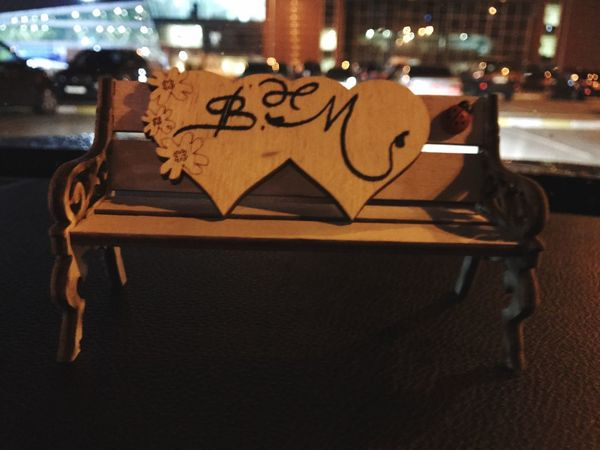 Art And Craft Love ♥ Love Forever Branch Initials Text Communication Message Table Night Indoors  Close-up No People City