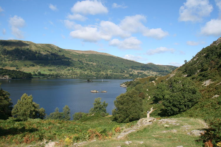 Scenic view of ullswater lake and mountains against sky