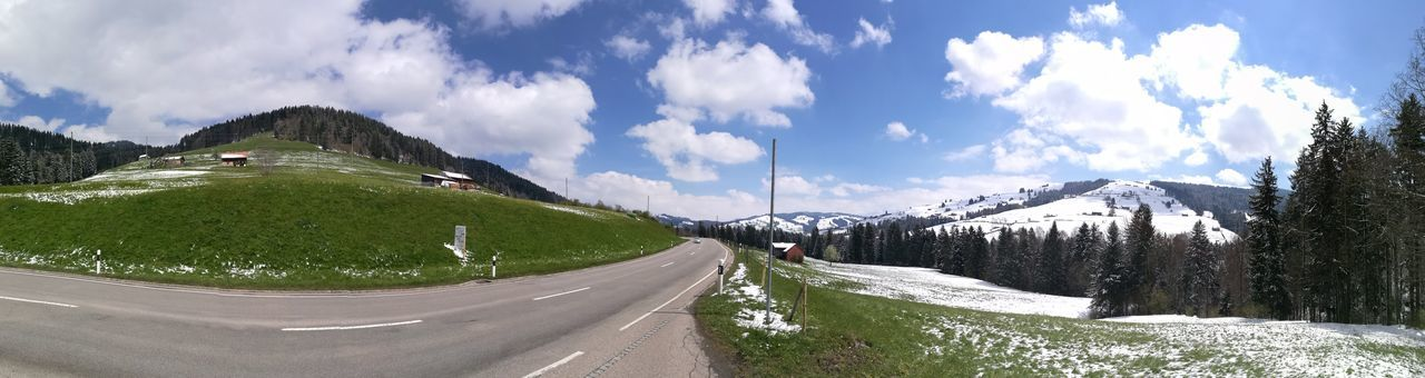 Cloud - Sky Mountain Sky Road Outdoors Nature Panoramic Mountain Range Day Scenics Tree No People Landscape Beauty In Nature Snow