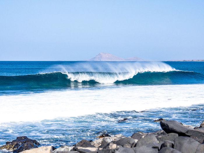 Breaking surf in Ponta Preta, Sal Island, Cabo Verde Horizon Over Water Wave Water Sea