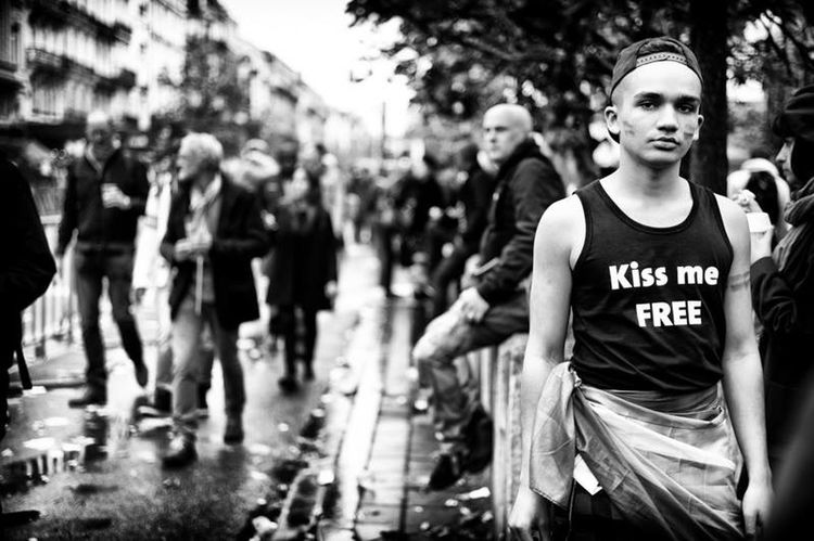 Kiss me free Gay Pride Brussels Belgium Travel Photography Streetphotography Black And White Photography LeicaMMonochrome Spako Boy Showcase: February