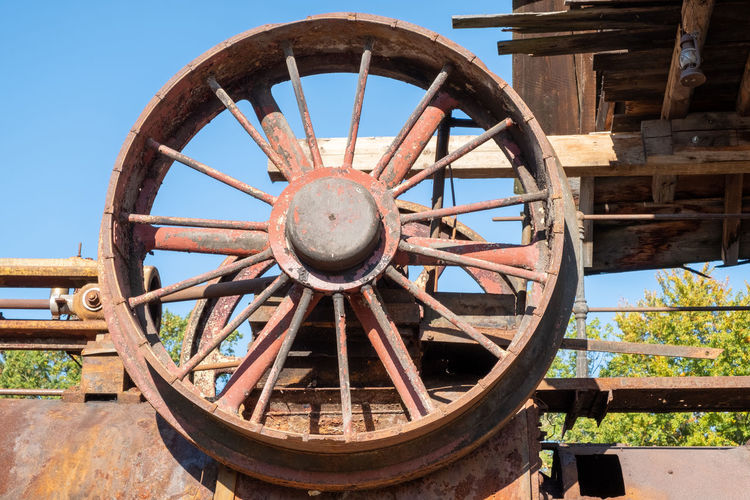 Old rusty wheel against clear sky