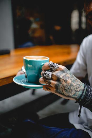 Skulls, tattoos and coffee 💀💀 The Week on EyeEm Tattooed Tattoo Tattoomodels Oldschool Week On Eyeem Week Instagood Picoftheday Moody Beutiful  Skull Human Hand Drink Coffee - Drink Coffee Cup Close-up Teabag Hot Drink Black Coffee Froth Art Coffee