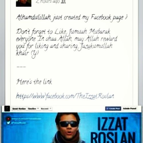 Izzat Roslan The talented vlogger just created his new page ! Do like and support this page for more awesome knowledge, sharing and reminder ! ^^ Vlogger Deen Muslim Productivemuslims almightybless *Im just a promoter*