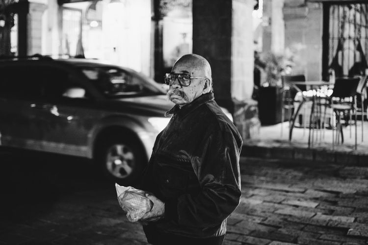 Blackandwhite City One Person Outdoors Portrait Real People Street Streetphotography