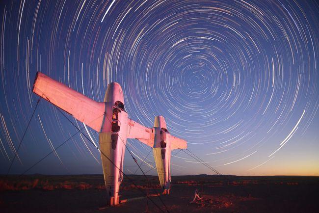 Sculpture park along the Oodnadatta track in outback South Australia Aeroplane Oodnadatta Track Outback South Australia South Australian Outback Art Modern Art Outback Australia Sculpture Southern Sky Star Trails Starscape