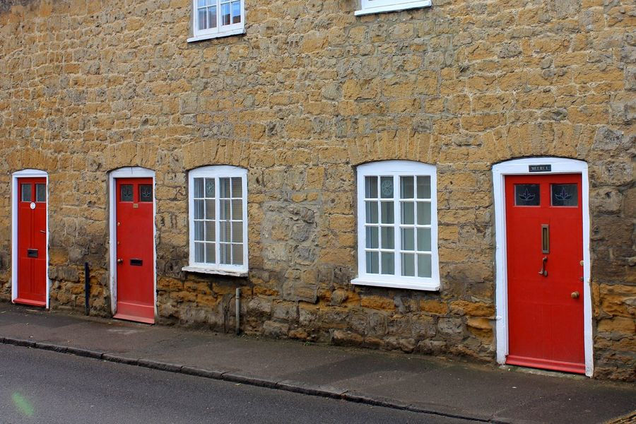 red doors Architecture Building Exterior Built Structure Day Door No People Outdoors Red Road Window Colour Your Horizn