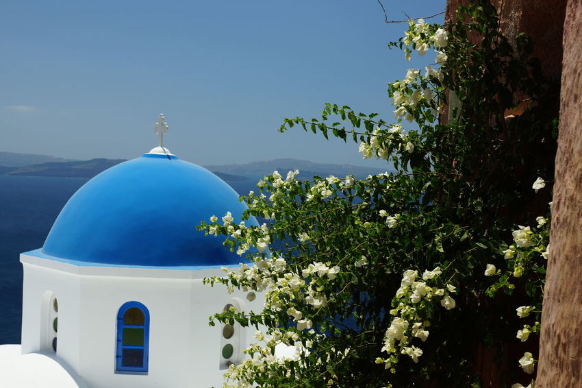 Architecture Beauty In Nature Blue Building Exterior Built Structure Clear Sky Cross Day Dome Nature No People Outdoors Religion Sky Spirituality Sunlight Whitewashed