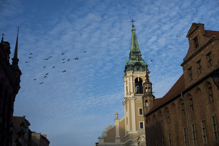 Blue sky and the towers Gothic Architecture Poland Toruń Architecture Belief Birds Building Building Exterior Built Structure Clock Cloud - Sky Day Gothic Style History Low Angle View Nature No People Oldtown Outdoors Place Of Worship Religion Sky Spire  Spirituality Tower