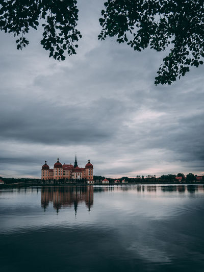 Reflection Of Historic Building In Lake Against Cloudy Sky