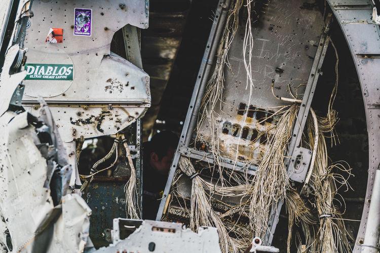 Close-up of abandoned machinery
