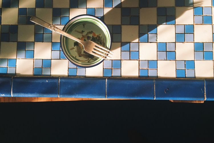 Blue Day Fork Indoors  Kitchen Light And Shadow No People Snack Tile