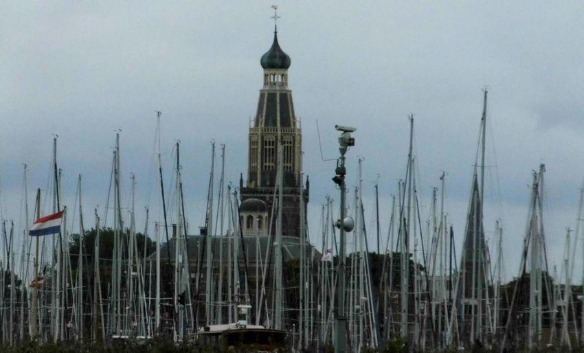 Taking Photos Boats Churchtower Churcht Masts masts Black & White bl