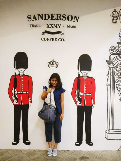If you want to be a princess, imagine you are a princess. crown on your head and bodyguard by your side.   History Saved London Scots Guards Sanderson Full Length Child Teenager People Standing Wall - Building Feature Females Arts Culture And Entertainment