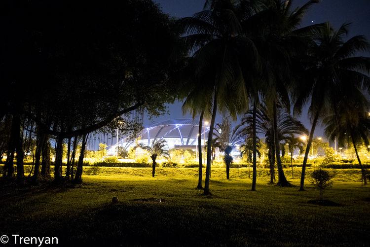 Glowing Light Outdoors Singapore Singapore National Stadium Stadium Tropical Climate