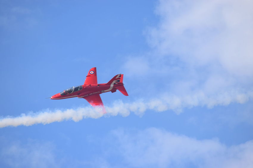 Southport Airshow 2016 Red Arrows Air Display Airshow Air Display  Jetplanes Red Arrows Mid-air Red Outdoors Blue Sky Cloudy