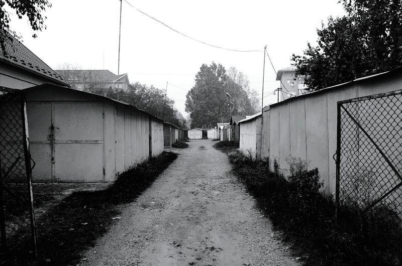 District Blackandwhite Streetphotography Garages