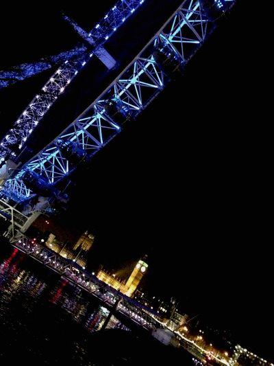 London Eye Ferris Wheel Nightphotography Night Lights Thames Big Ben