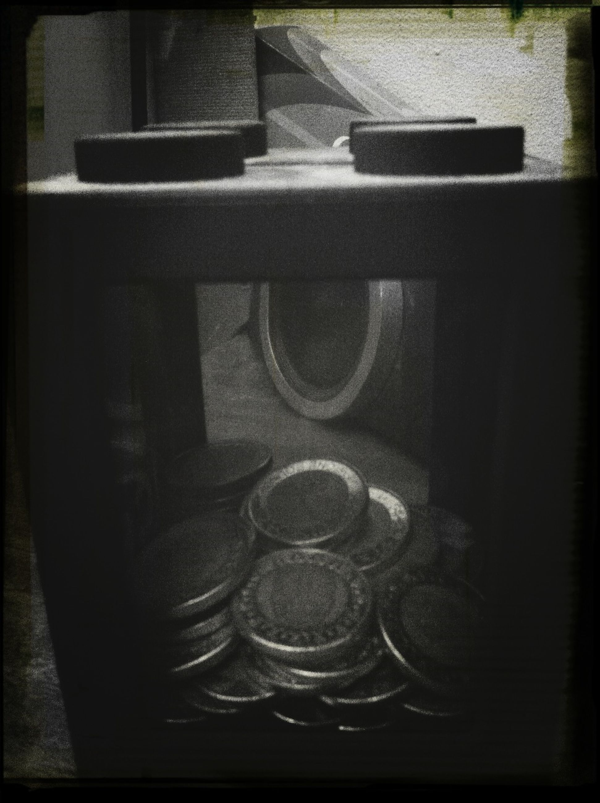 transfer print, indoors, auto post production filter, close-up, metal, high angle view, no people, still life, table, technology, old-fashioned, metallic, glass - material, day, reflection, transportation, handle, window, retro styled, old