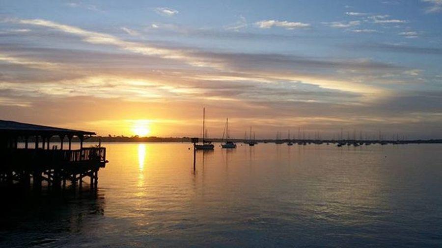 This is how I started my day. Downtown Picoftheday Florida NightOfLights Saltlife Boat Sailboat Saltlife_sunrise Saltlife HistoricCoastCulture