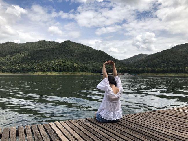 เพื่อนเรา Mountain Lake Water Cloud - Sky Nature One Person Sky Beauty In Nature Day Outdoors Young Adult Leisure Activity Scenics Full Length Real People Sitting Mountain Range Women Young Women Tree Vacations MaeTang