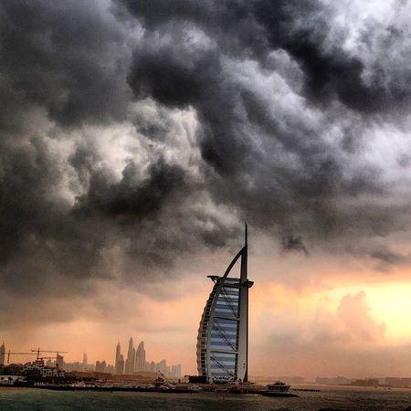 Storm Dubai Burj Al Arab Sunset Clouds And Sky UAE