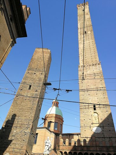 Bologna, Italy Due Torri Two Towers Bologna Clear Sky Ancient Civilization Cable Business Finance And Industry Blue Industry Sky Architecture Historic